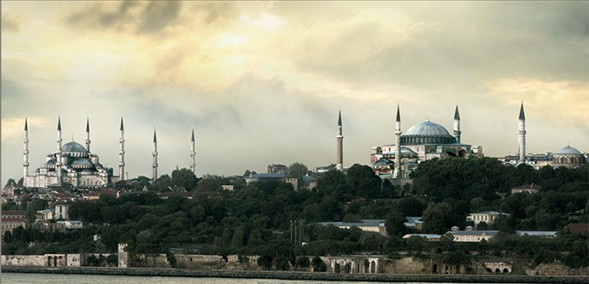 Istanbul view Hagia Sophia and Blue Mosque