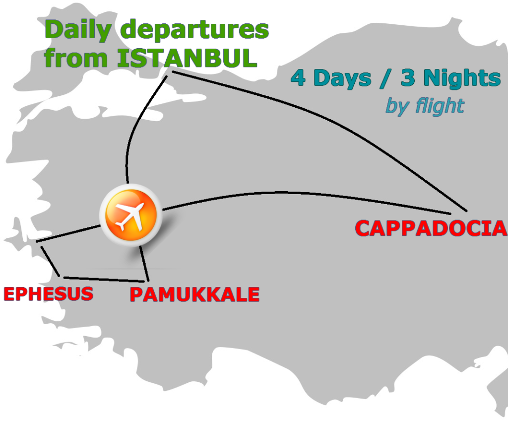 Cappadocia-Ephesus-Pamukkale Package by Plane (Small Group)